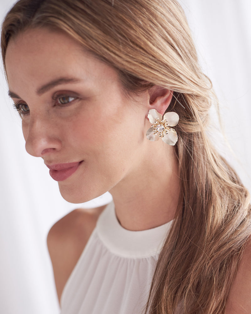 Silver Floral Statement Wedding Earrings