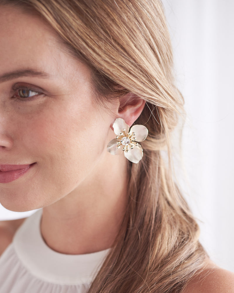 Silver Floral Statement Earrings