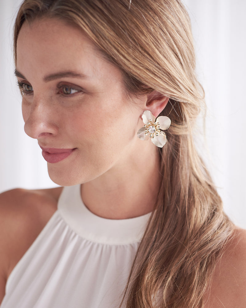 Silver Floral Statement Stud Earrings