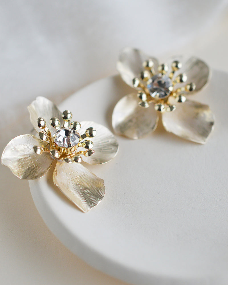Gold Floral Statement Bridal Stud Earrings