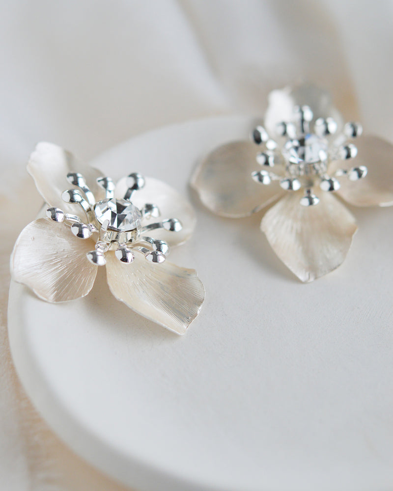 Silver Floral Statement Bridal Earrings