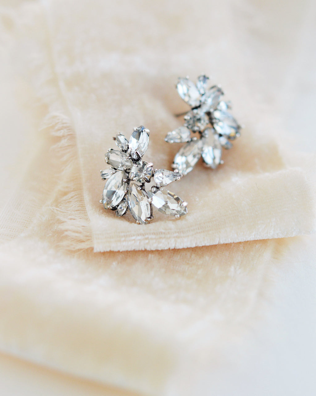 Silver Crystal Statement Stud Earrings