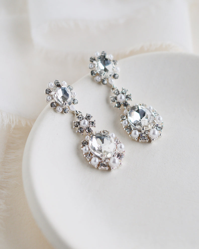 Crystal & Pearl Wedding Earrings