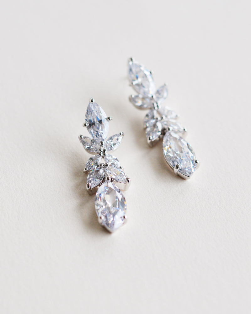 Silver Cubic Zirconia Wedding Earrings