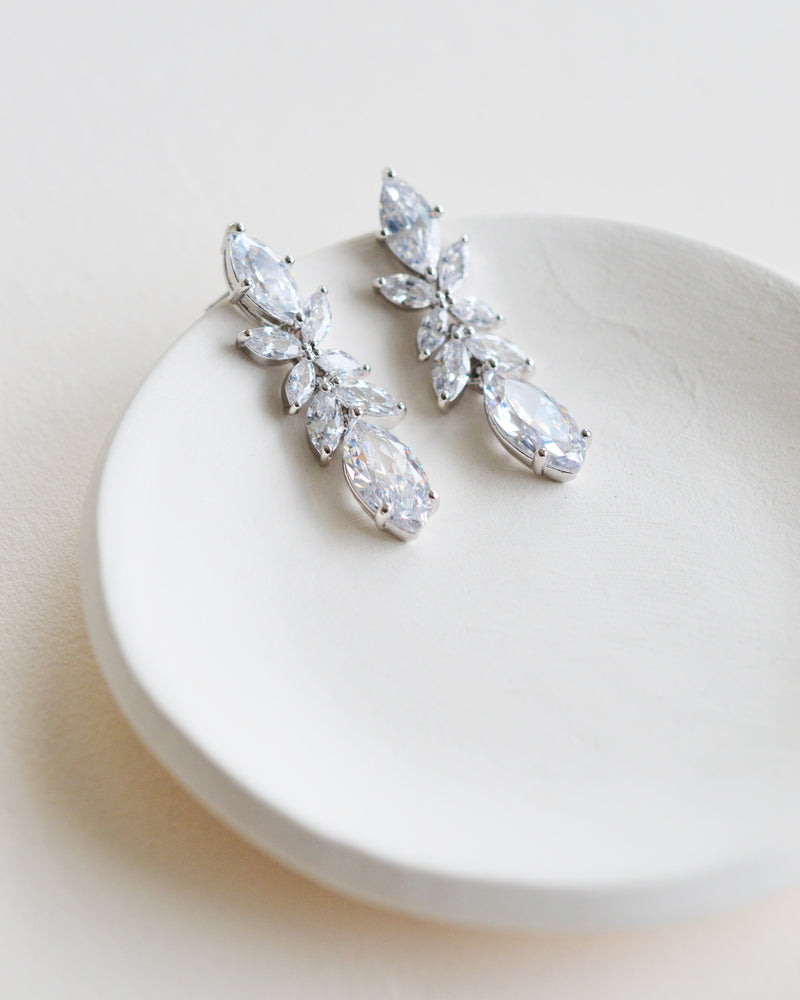 Silver CZ Floral Drop Earrings