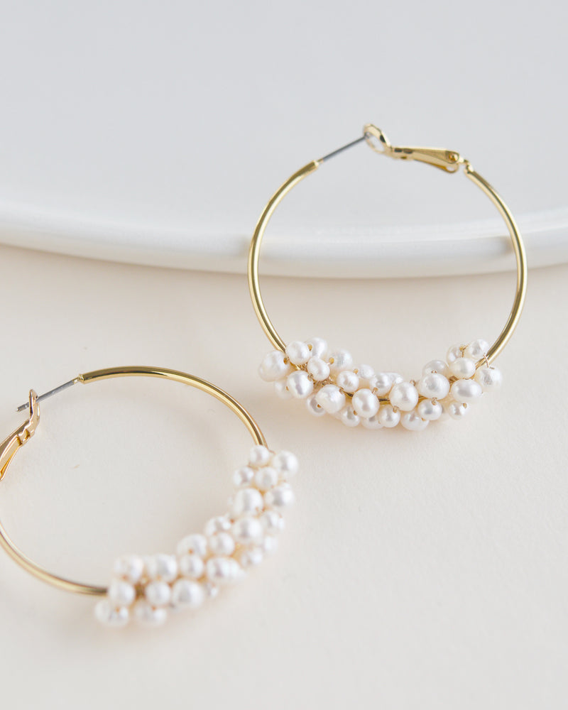 Gold & Freshwater Pearl Earrings for Bride