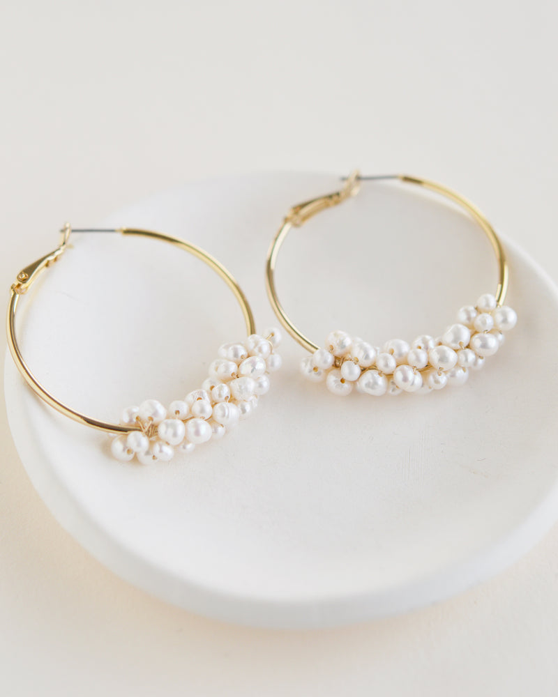 Gold Freshwater Pearl Bridal Earrings