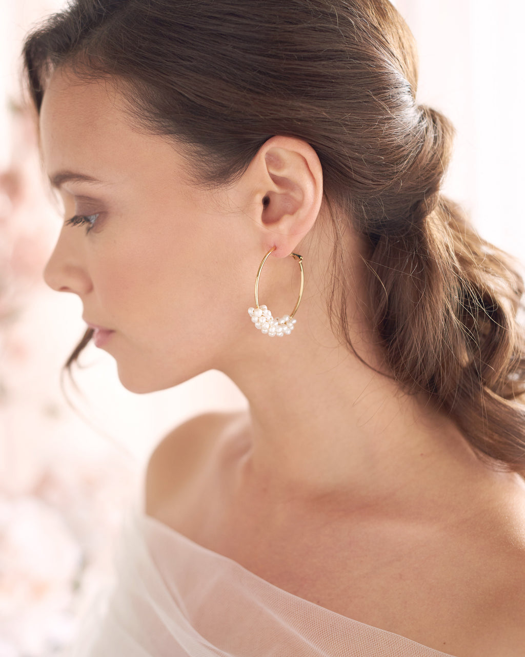 Gold Freshwater Pearl Wedding Statement Earrings