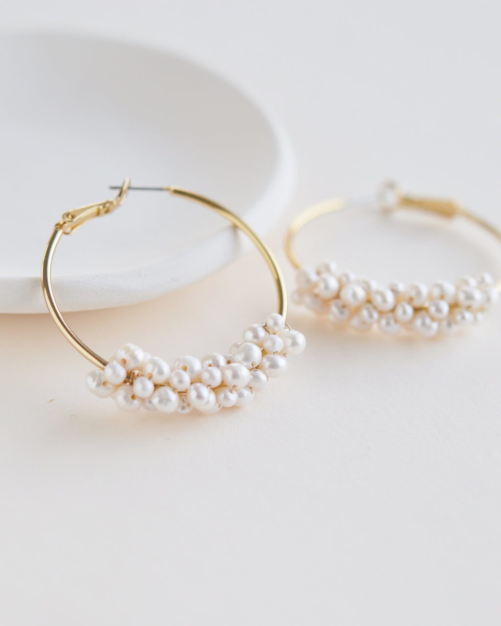 Gold Freshwater Pearl Hoop Earrings