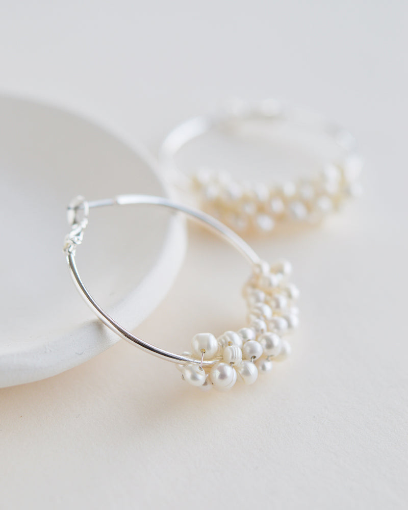 Silver Freshwater Pearl Bridal Earrings