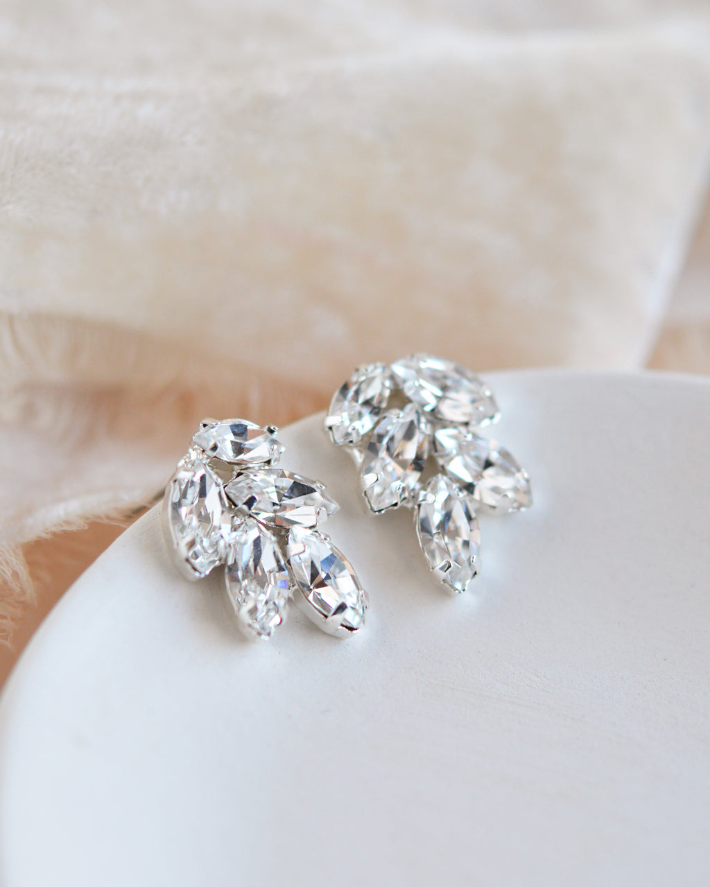 Silver Crystal Wedding Earrings