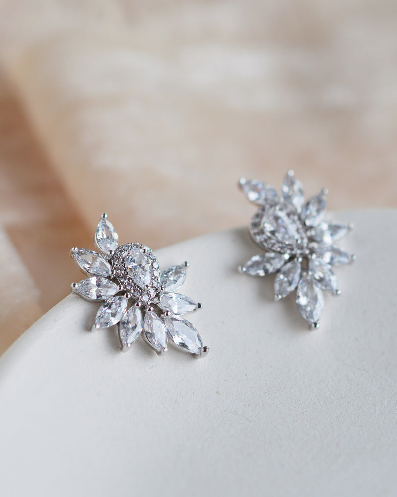 Silver CZ Bridal Earrings