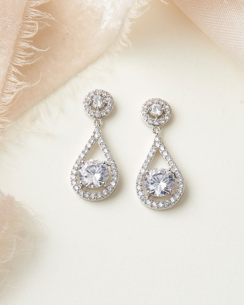 Silver CZ Wedding Earrings