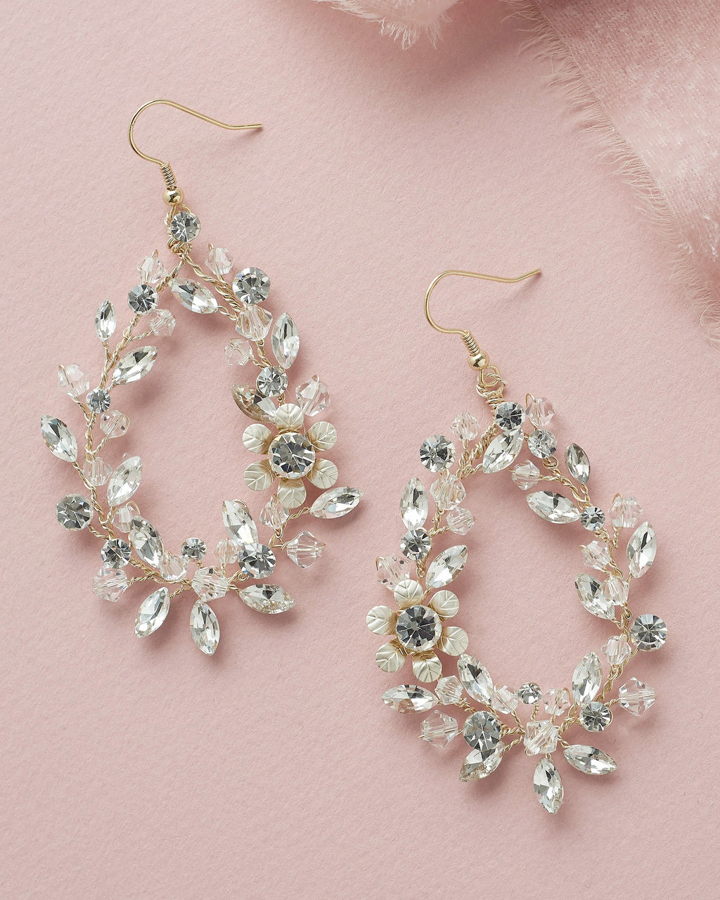 Crystal Floral Hoop Earrings