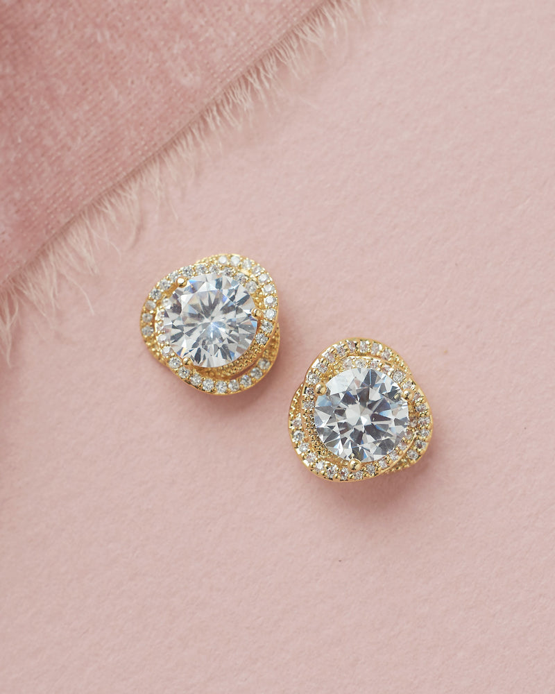 Gold Cubic Zirconia Wedding Stud Earrings