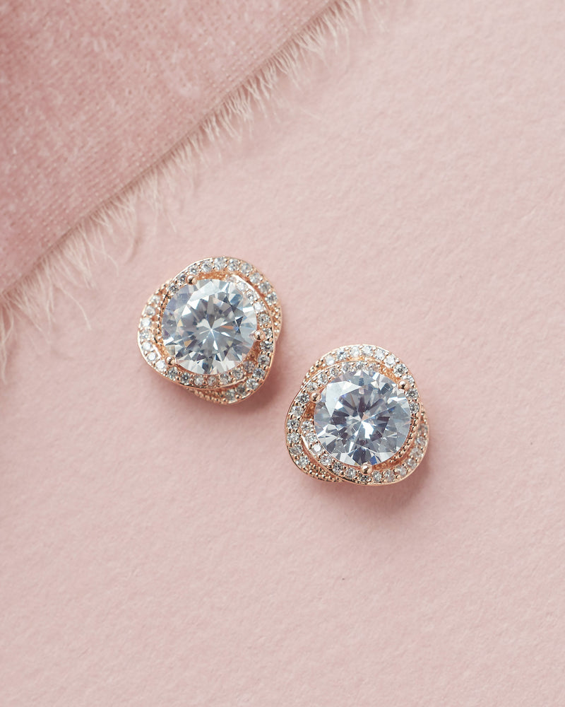 Rose Gold CZ Bridal Stud Earrings