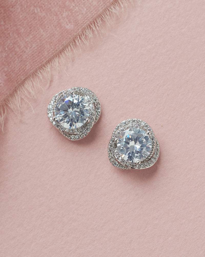 Silver Cubic Zirconia Bridal Stud Earrings