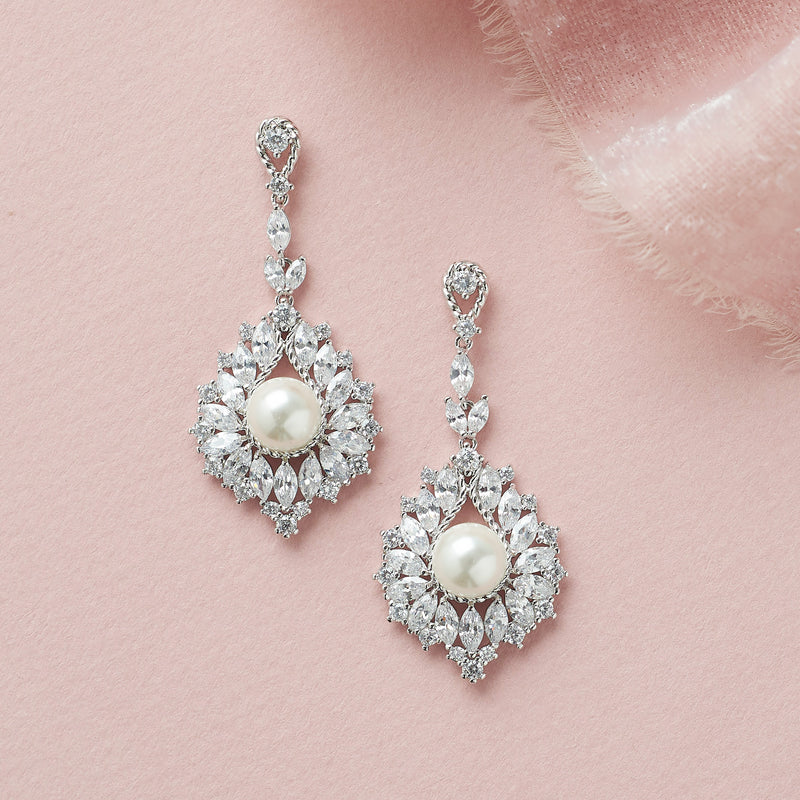 Silver CZ & Pearl Drop Bridal Earrings