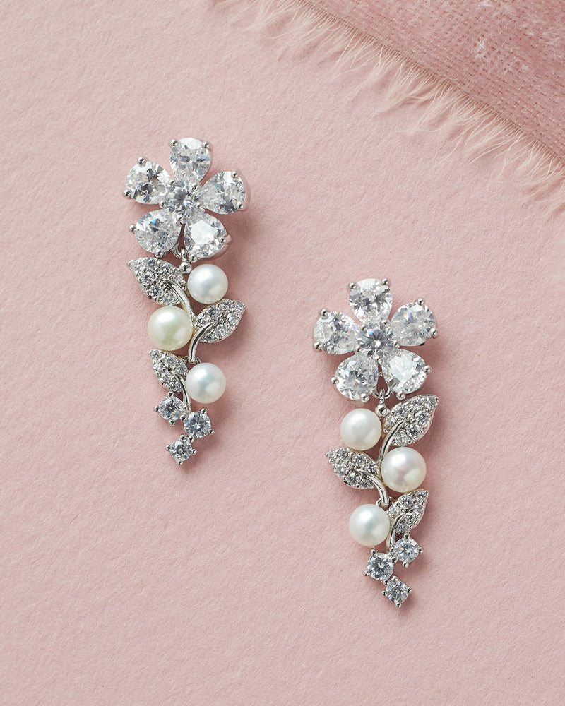 Silver CZ Freshwater Pearl Bridal Drop Earrings