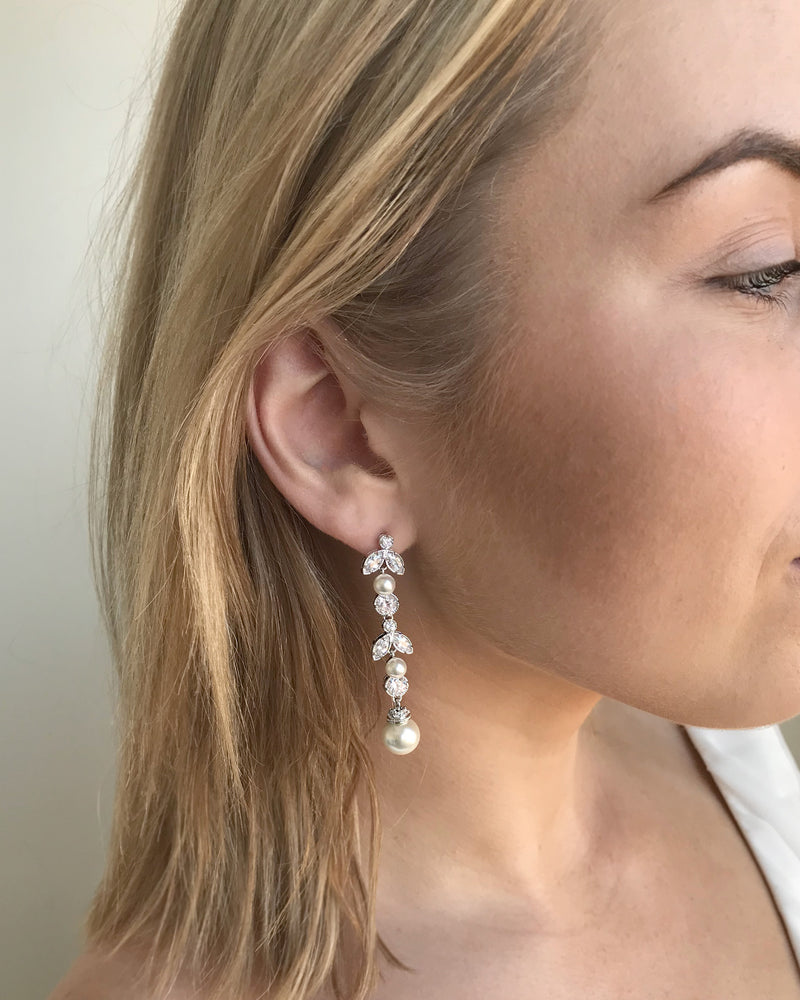 Pearl Wedding Earrings Long