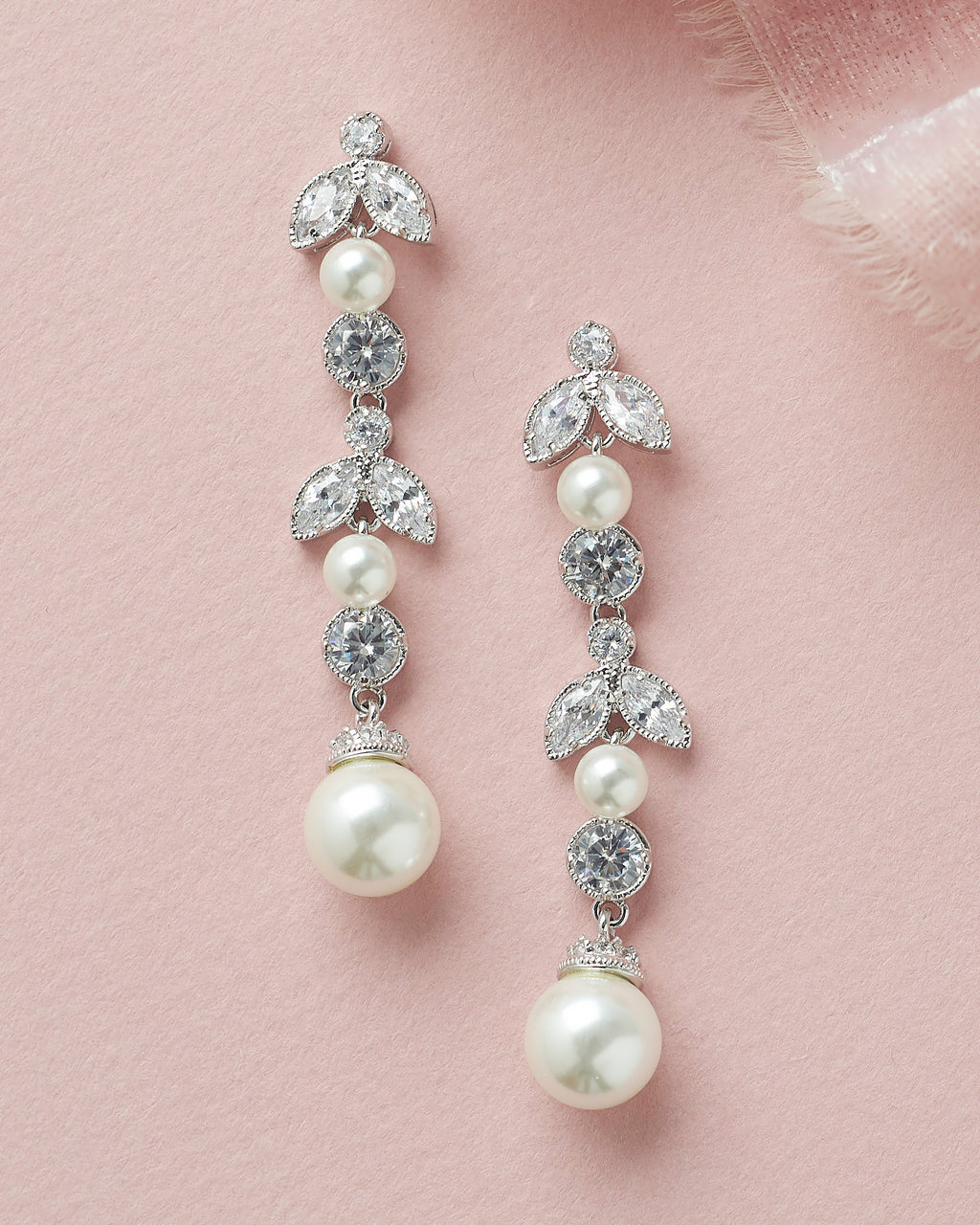 Silver Floral Pearl & CZ Bridal Earrings