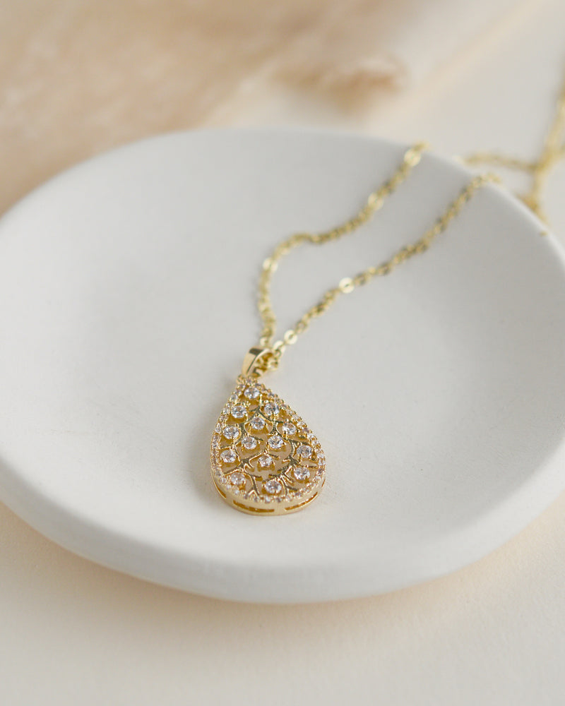 Gold CZ Wedding Necklace