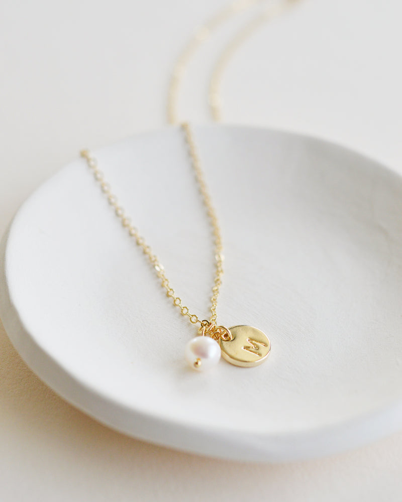Initial Disc Pendant Necklace with Freshwater Pearl