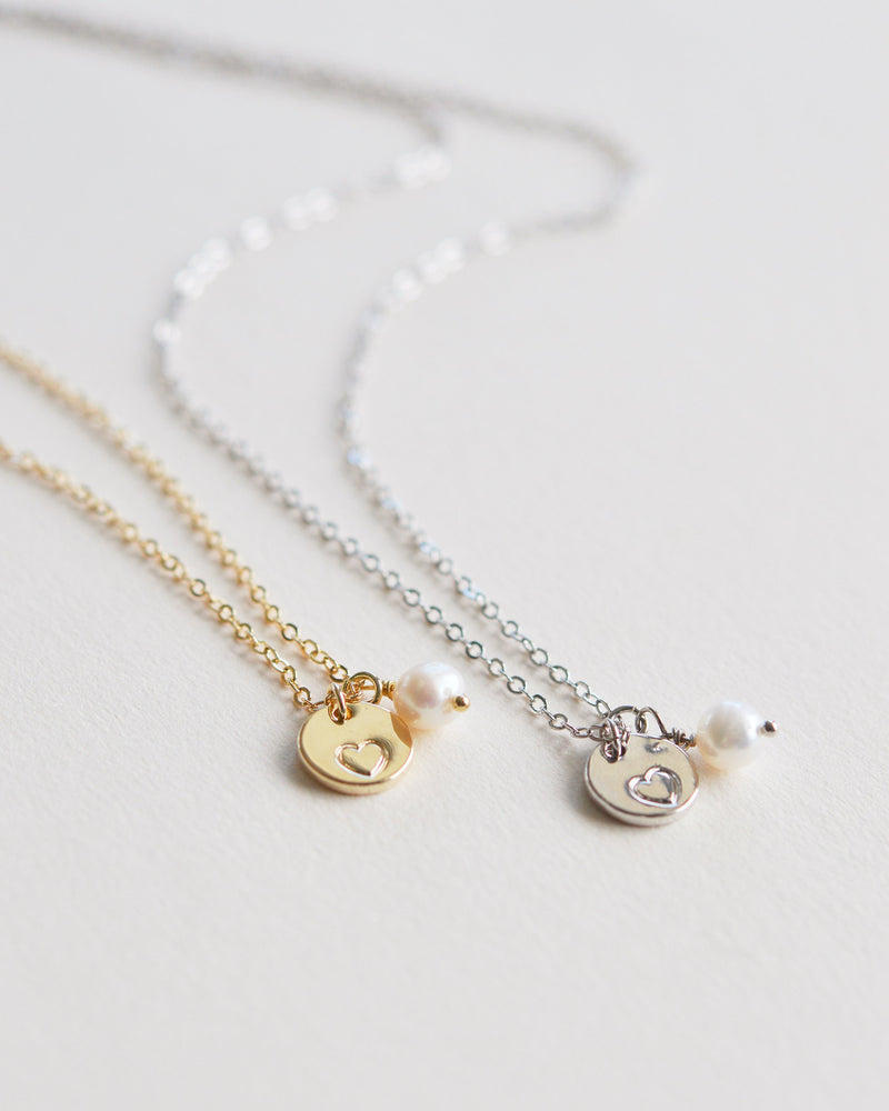 Pearl Heart Necklace Bridesmaid Gift