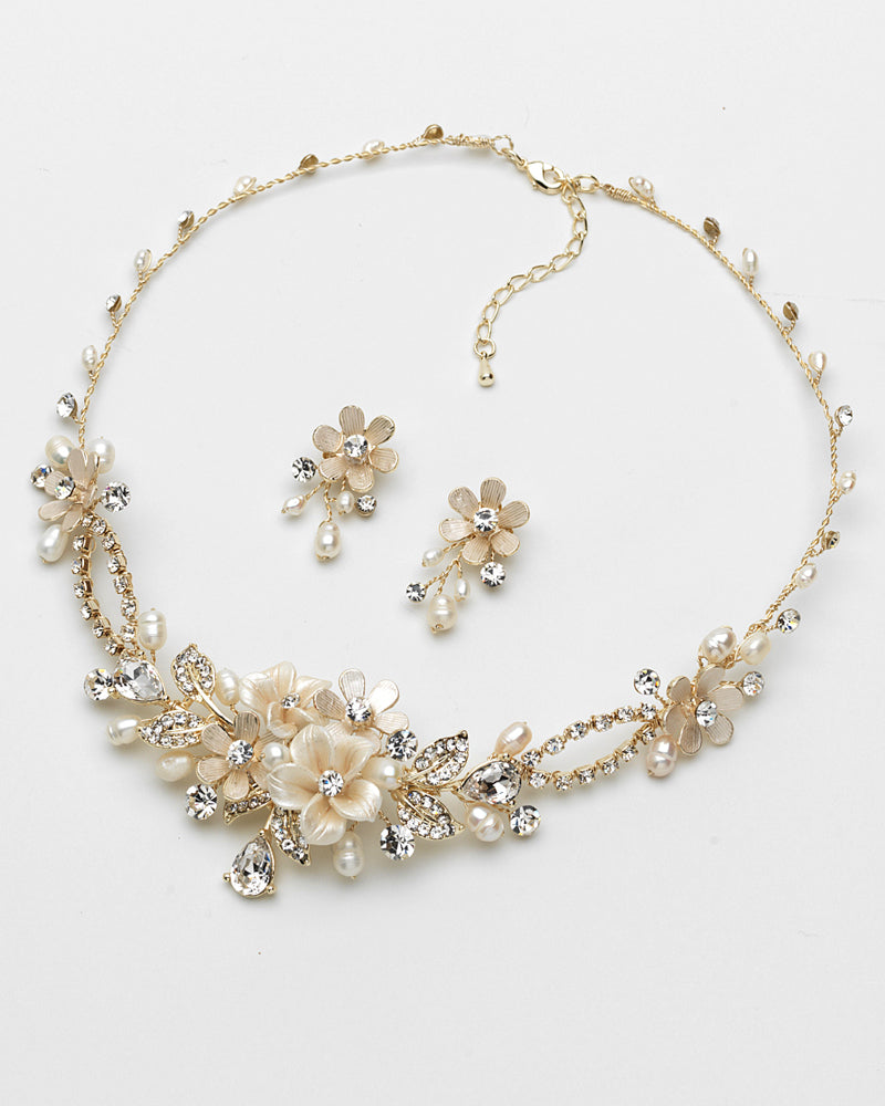 Floral Gold Jewelry Set