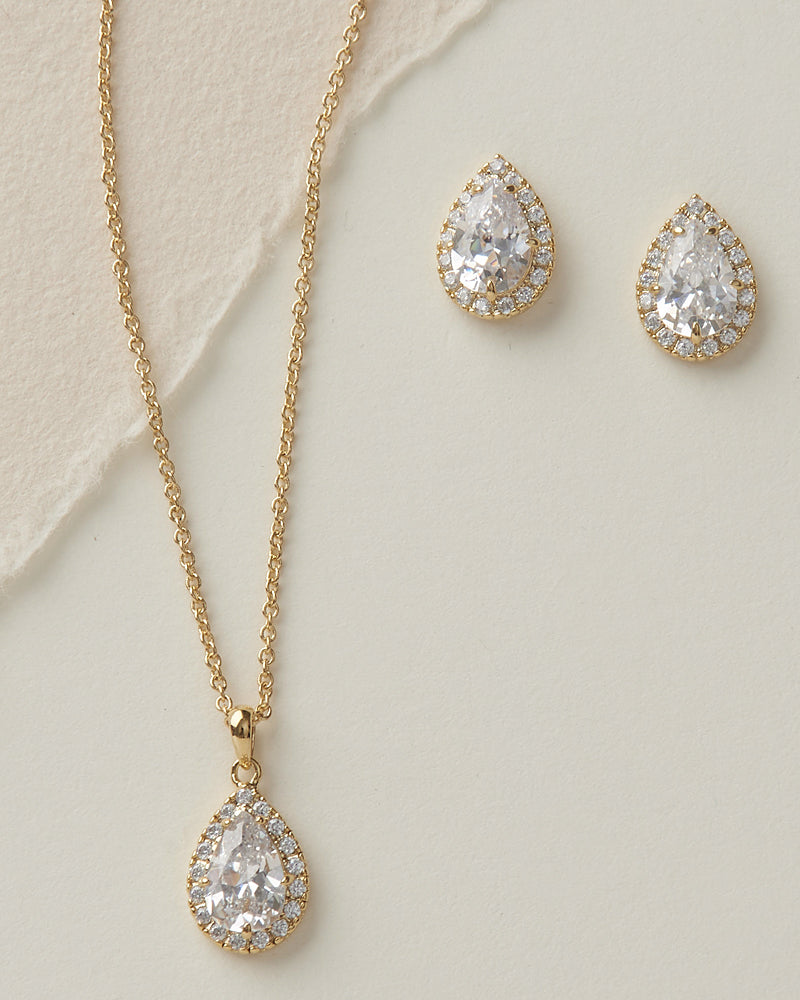 Gold CZ Jewelry Set