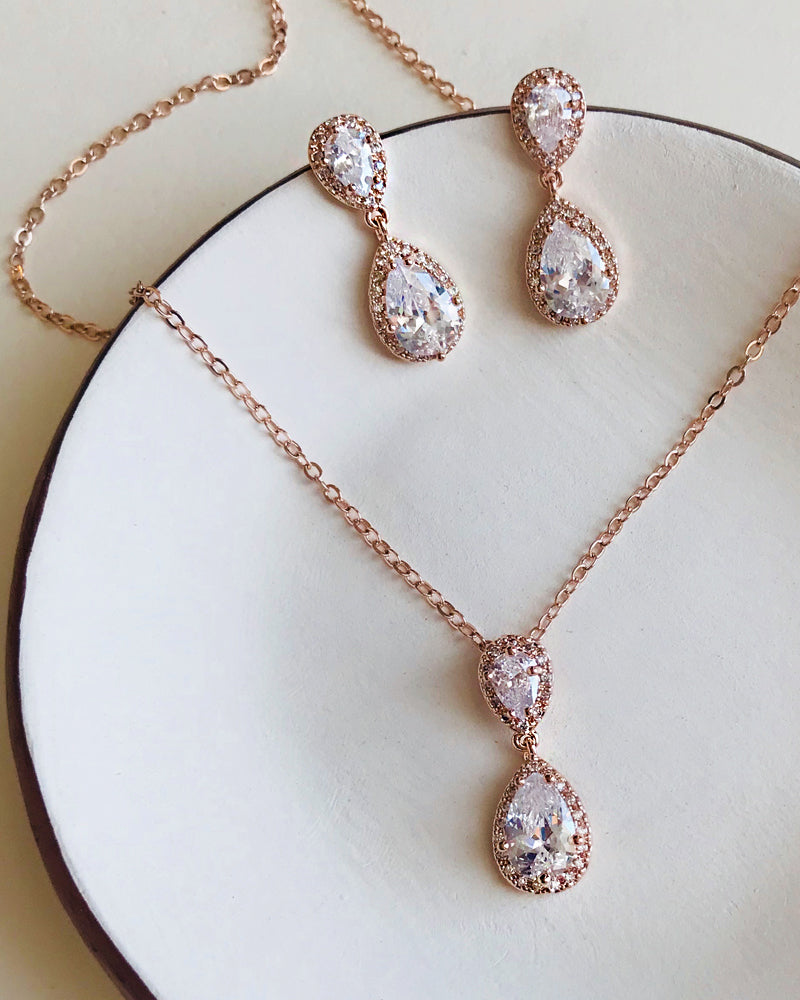 Bridesmaid Jewelry Set Rose Gold