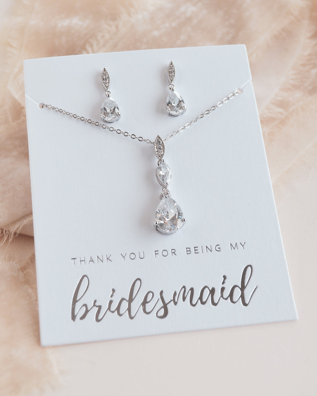 Silver CZ Bridesmaid Pendant Jewelry Set