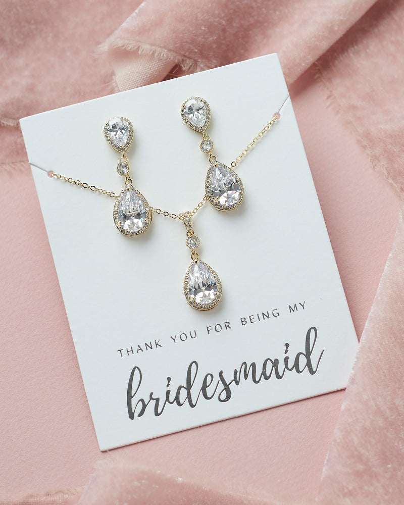 Madeline CZ Bridesmaid Pendant Set