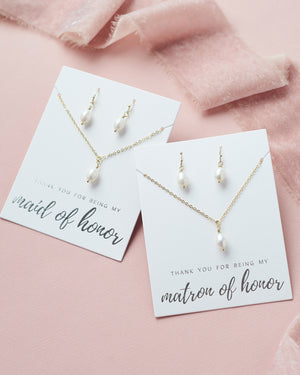 Bridal Party Jewelry Set Gold
