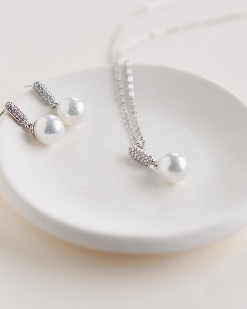 Silver Pearl Drop Pendant Jewelry Set