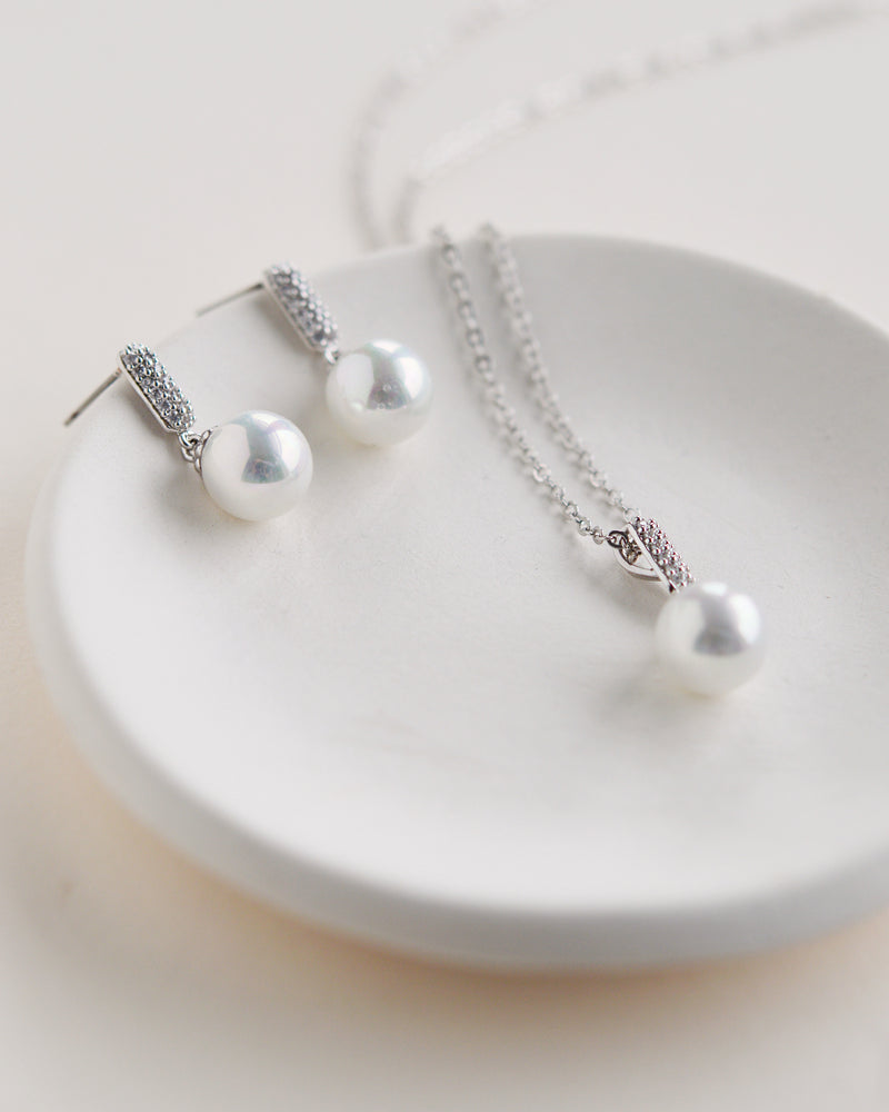 Silver Pearl Drop Jewelry Set