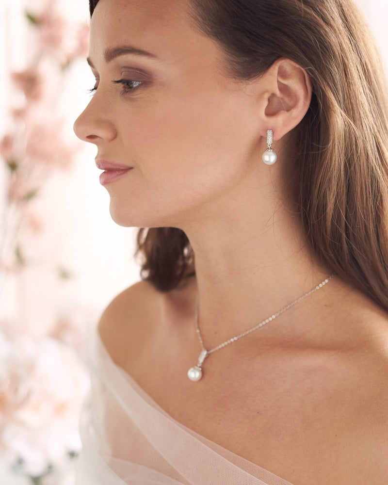 Silver Pearl Drop Wedding Jewelry Set