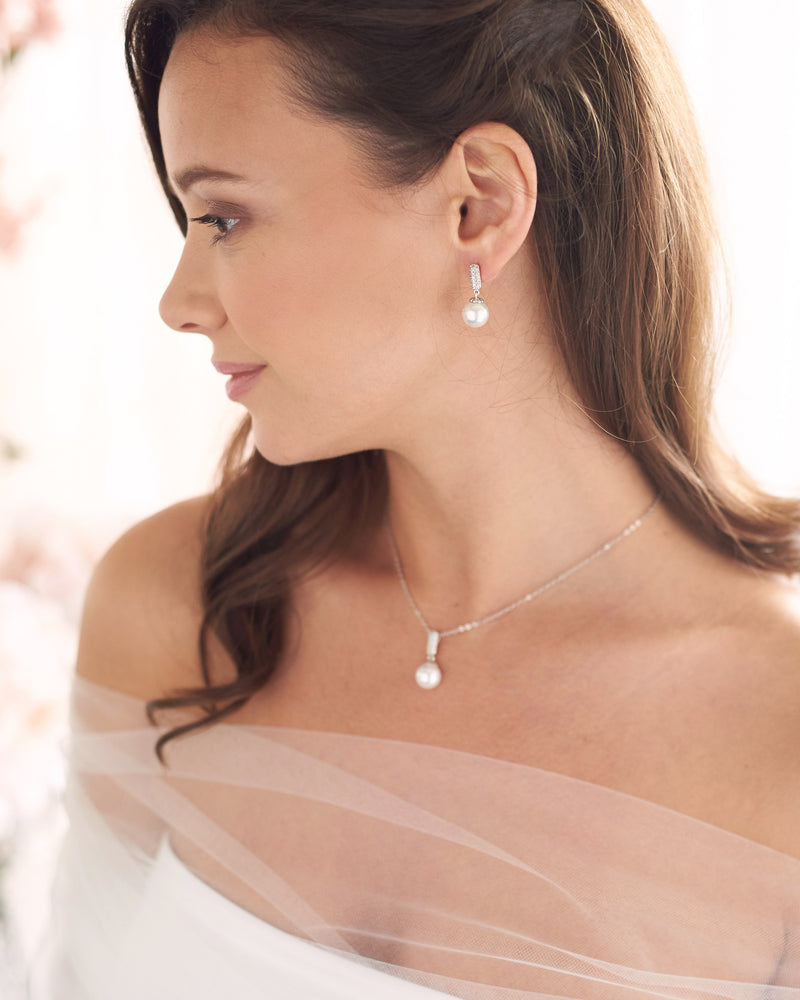 Silver Pearl Bridal Jewelry Set