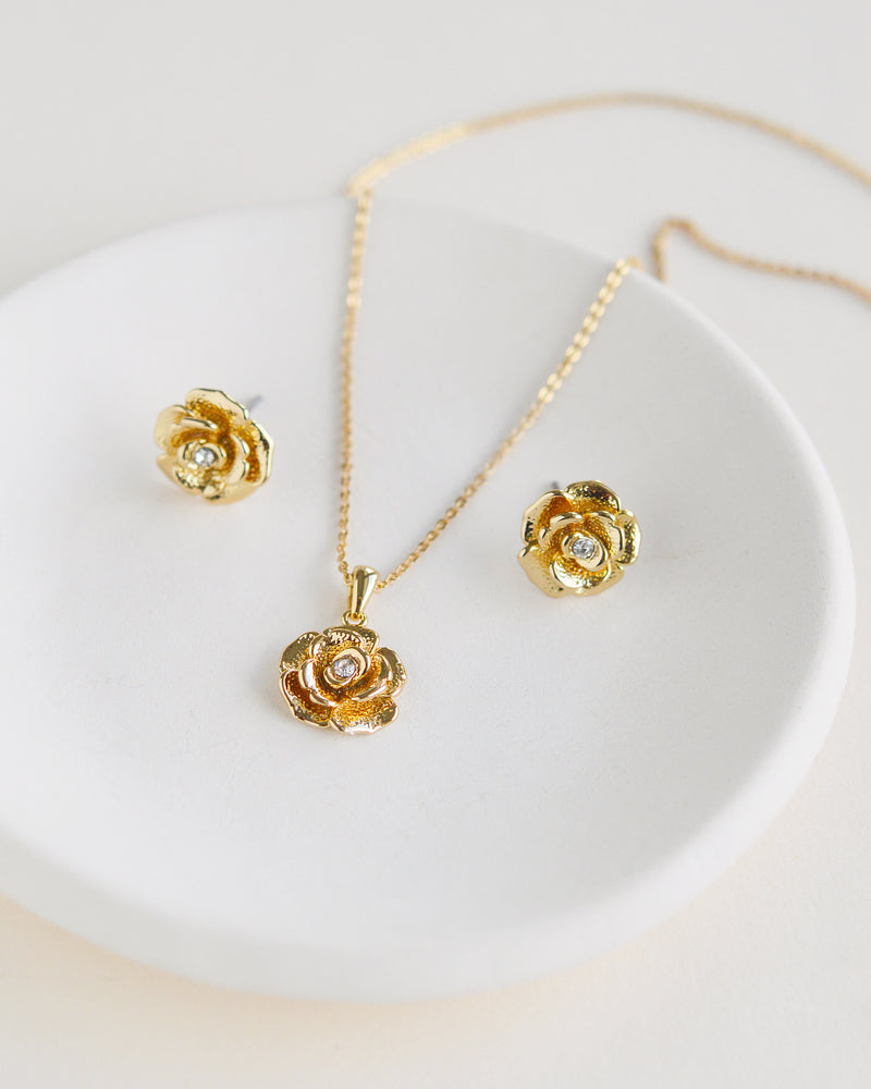 Gold Floral Wedding Jewelry Set