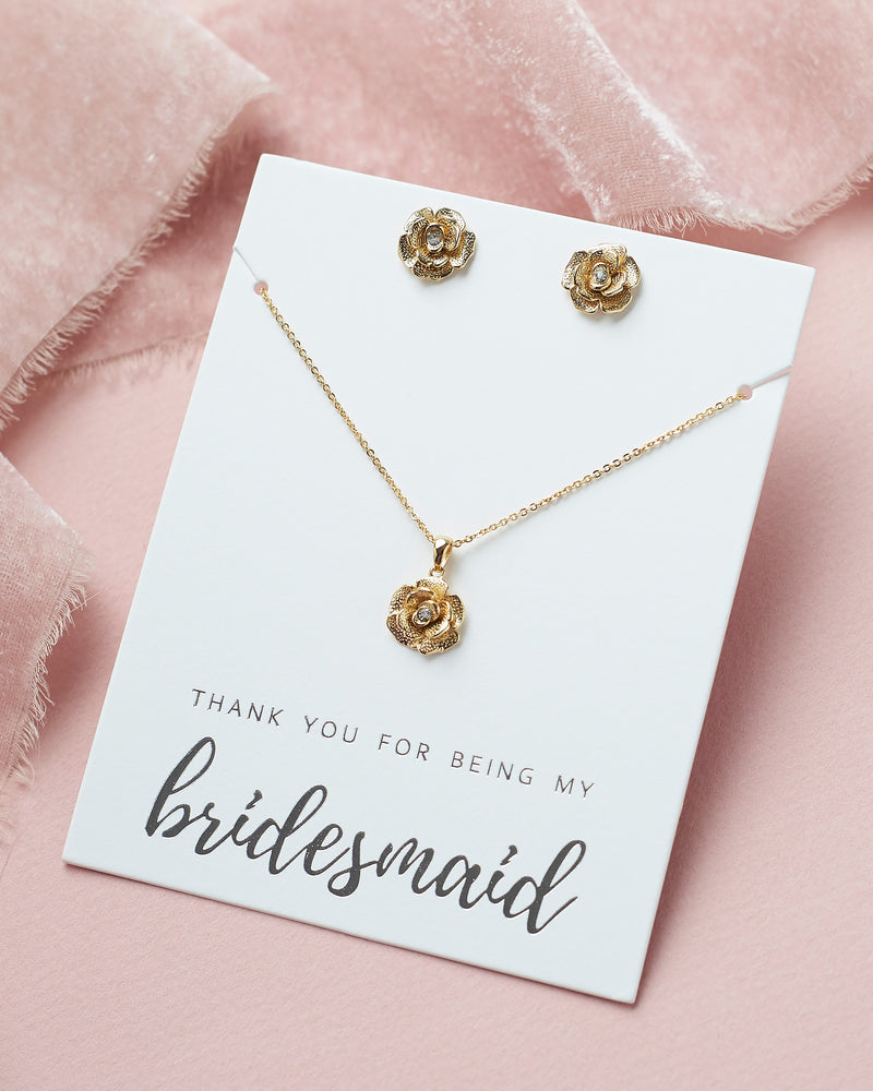 Gold Floral Bridesmaid Jewelry