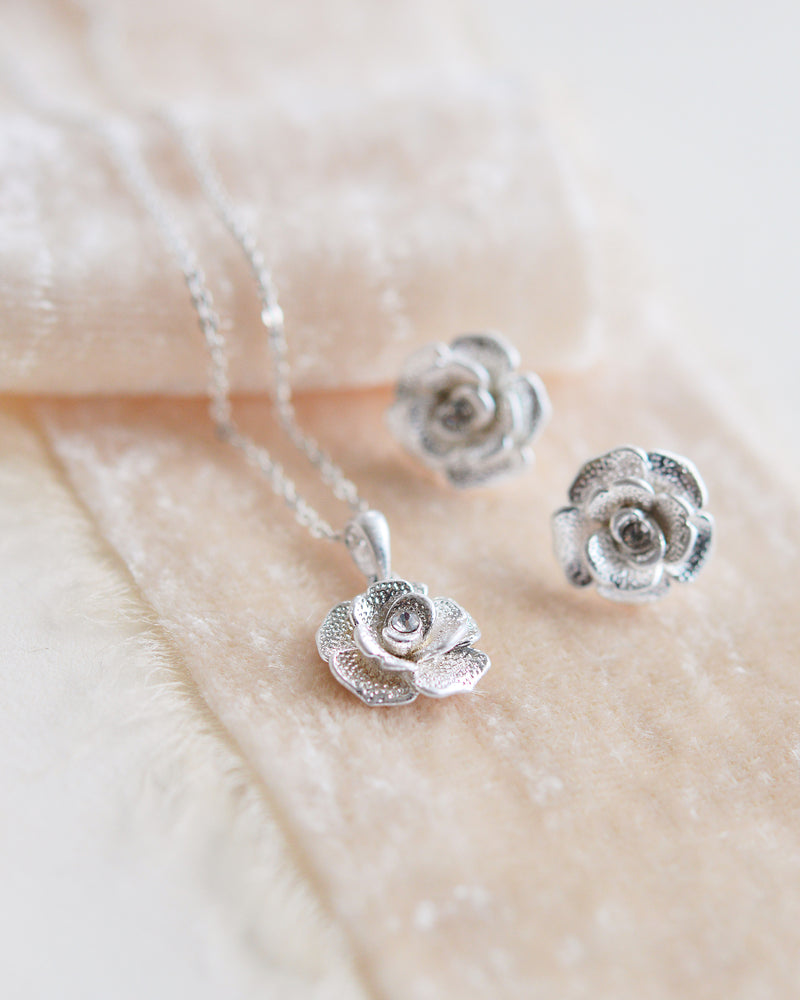 Silver Floral Bridesmaid Jewelry Set