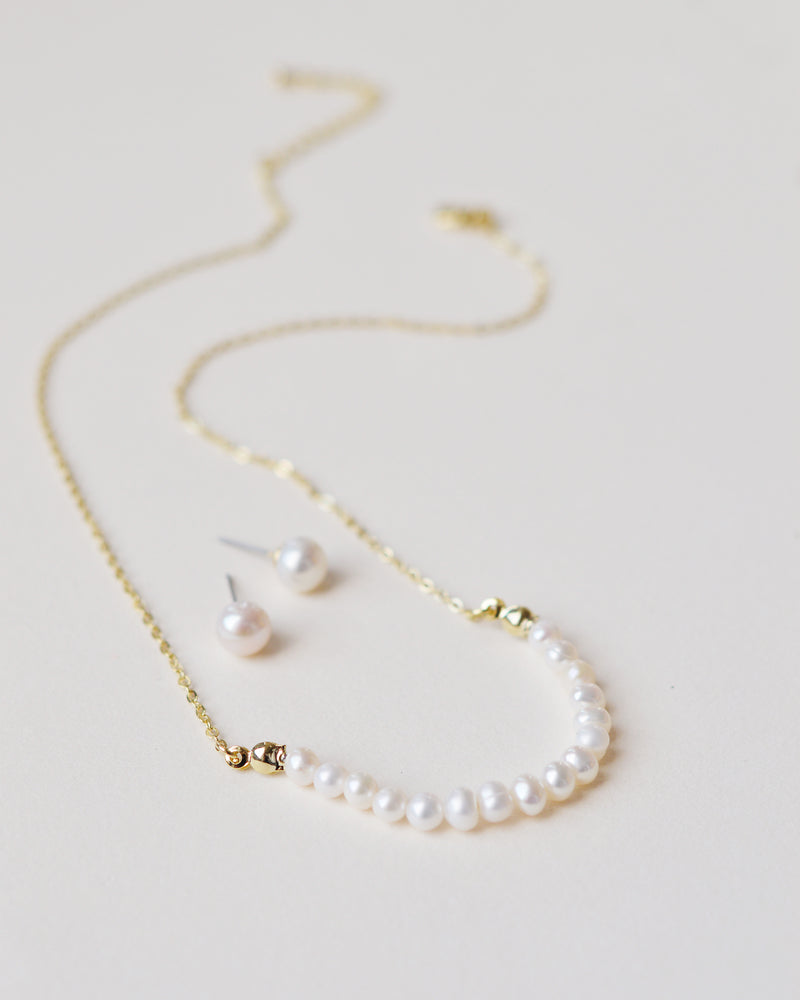 Gold Freshwater Pearl Classic Bridal Jewelry Set
