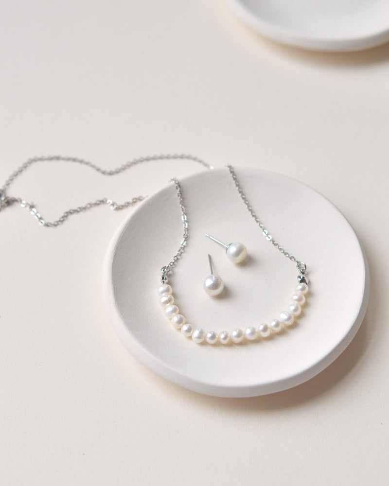 Silver Freshwater Pearl Wedding Jewelry Set
