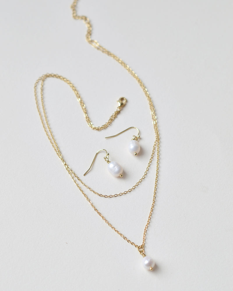 Layered Gold Chain Freshwater Pearl Drop Bridal Jewelry