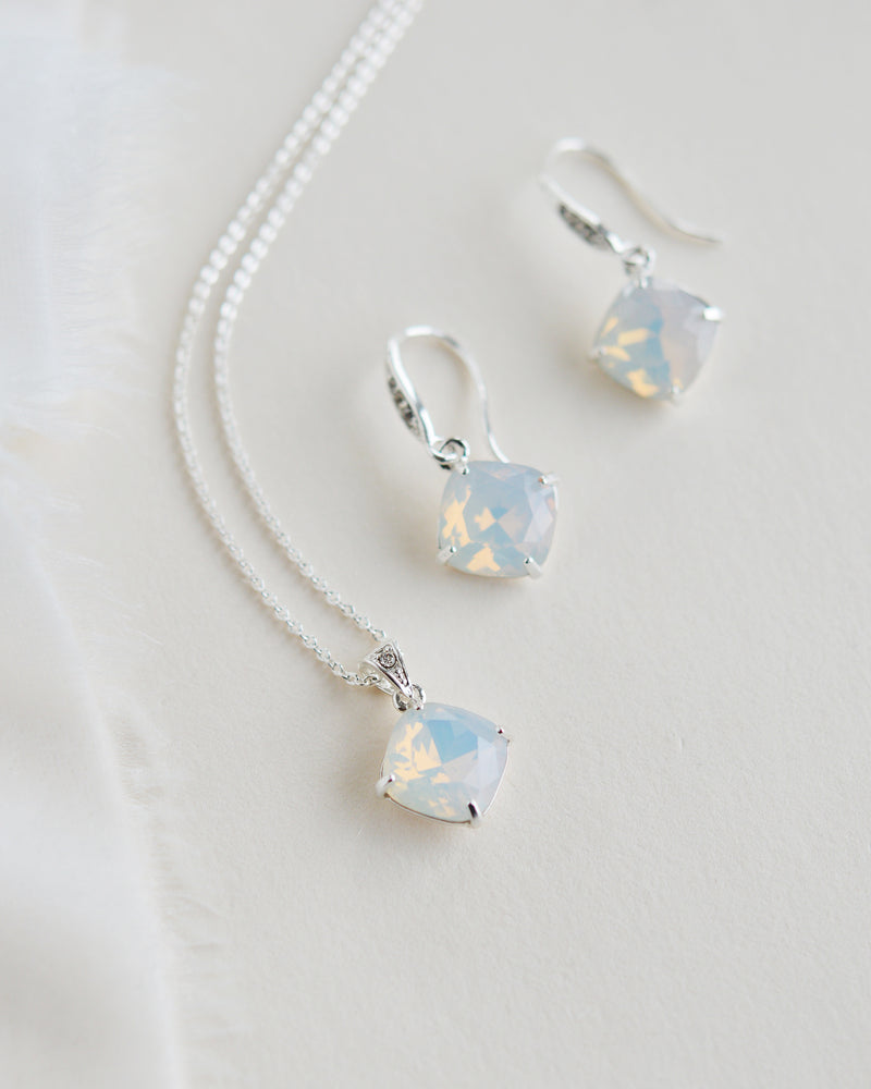 Silver & Opal Gemstone Wedding Jewelry Set