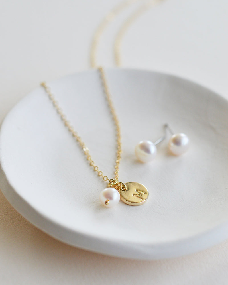 Gold Pearl Initial Jewelry Set