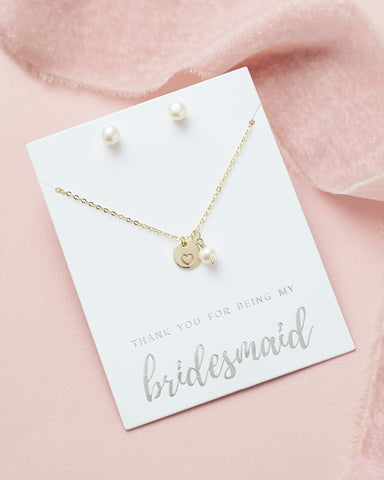 Layered Pearl Drop Bridesmaid Jewelry Set