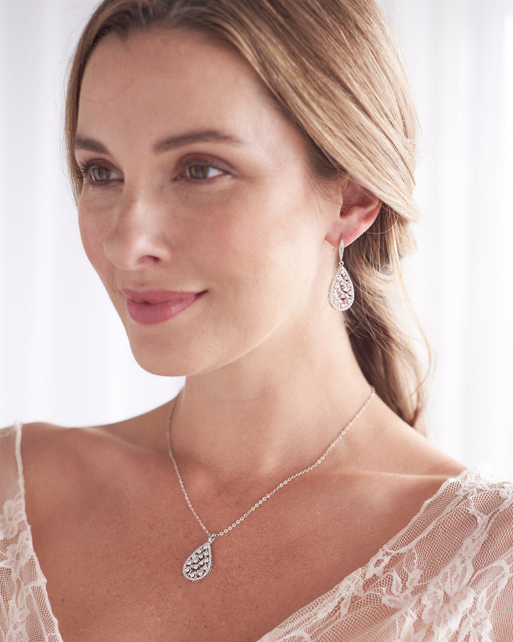 Silver CZ Wedding Necklace