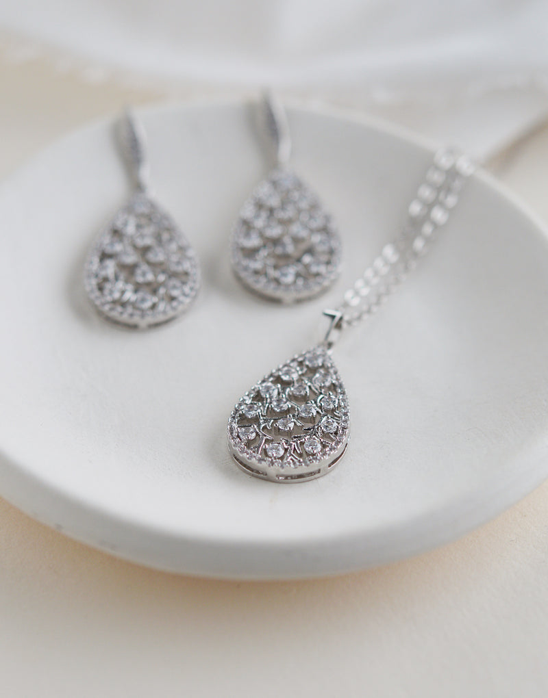 Silver Floral & CZ Bridal Necklace