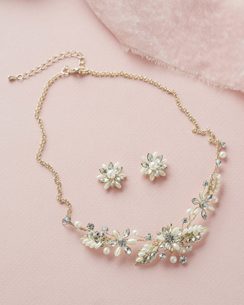 Floral Gold Pearl Wedding Jewelry Set